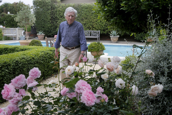EGarden shears in hand, Anthony Eglin spends time deadheading his roses Monday May 4, 2015. Accomplished mystery writer Anthony Eglin, whose books often revolve around roses, has built a beautiful garden on his Sonoma, Calif. property.glin